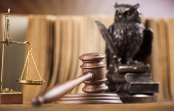judge's gavel, justice scales and a figure of an owl