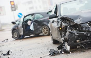 two crashed cars after an accident